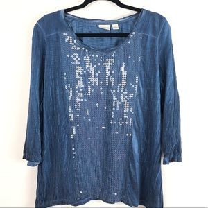 CHICO'S Size 2 US 12/14 Sequin Blue Distressed top